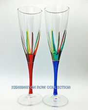 """""""POSITANO"""" CHAMPAGNE FLUTES - SET/2 - RED & BLUE - HAND PAINTED VENETIAN GLASS"""