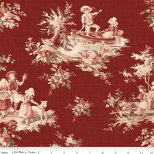 Toile de Jouy Cotton Quilt Fabric Children Riley Blake Red BFab