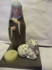 """PARTYLITE  Ceramic Modern Shepherd With Sheep Tealight Holder Stand is 4.5"""" Sq"""