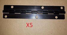 5 pc Aluminum Black Anodized Hinge 5.5 x 1.25 HOLES Door/Cabinet/Piano 18013-186