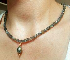 Tahitian black baroque pearl necklace solid 14k gold 30ct Labradorite gemstone