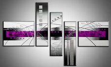 Silver Purple Abstract Hand Painted Oil Painting Canvas Home Decor Wall Art 5P