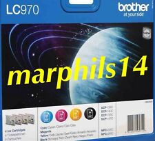 LC970 Brother INK CARTRIDGES BLACK  CYAN MAGENTA YELLOW LC-970, LC 970 Genuine