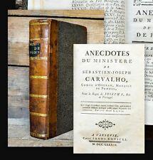 1783 Portugal Brazil Jesuitica carvalho de Pombal anecdotes du ministere