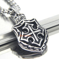 Heavy Knights Templar Cross Joshua 1:9 Shield Stainless Steel Pendant Necklace