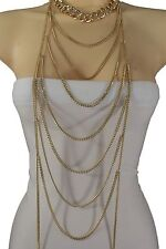Women Gold Metal Necklace Chain Links Extra Long Fringes Fashion Jewelry Waves