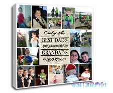 "20""x20"" PERSONALISED COLLAGE CANVAS PHOTO GIFT BIRTHDAY FATHERS DAY GRANDAD"