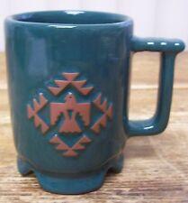 Frankoma Hunter Green Eagle Hawk Bird Aztec Coffee Mug Cup C1