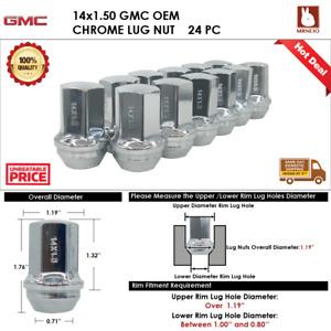 24 PCS GMC ACADIA/C2500/CANYON/YUKON 14x1.5 CHROME WHEEL LUG NUTS