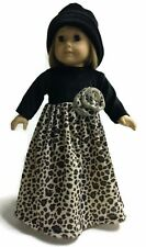 Black & Animal Print Velour Dress & Hat fits 18 inch American Girl Doll Clothes