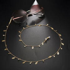 Stainless Steel Leaf Rhinestone Glasses Chain Summer Cool Beach Sunglasses Chain