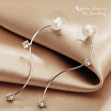 18K White Gold Plated Simulated Pearl Diamond Stick Double Sided/Jacket Earrings
