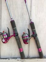 2 New Zebco 33 LADY Micro Ultra Light TriggerSpin 5' Fishing Rod Reel Combos 4lb