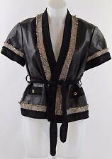 NWT BCBG Black 100% Leather Short Sleeve Open Front Jacket with Belt Size Large