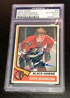 KEITH MAGNUSON SIGNED 1974 TOPPS HOCKEY CARD #75 PSA/DNA Auto BLACKHAWKS
