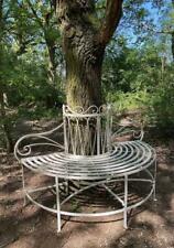Garden Tree Bench Seat - Half Round - White - Wrought Iron - RRP £200 - Outdoor