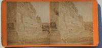 Siria Baalbek Foto Stereo di Carta Vintage verso 1870