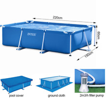 """Intex Above Ground Summer Swimming Pool With Cover, Pump - 86"""" L x 59"""" W x 23"""" H"""