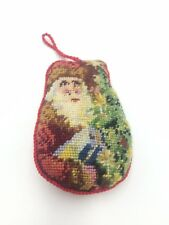 Vtg FATHER CHRISTMAS Ornament Finished NEEDLEPOINT PETIT POINT Wool Xmas Tree