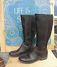 HUSH PUPPIES Steps Riding Boots Size 7 medium Brown Leather VERY NICE