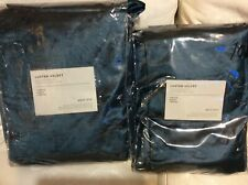 West Elm Two (2) Luster Velvet Curtains 48x108 Regal Blue NEW!