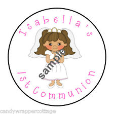 """First Communion Personalized 1.5"""" Round Labels Favors Lollipop Stickers Seal"""