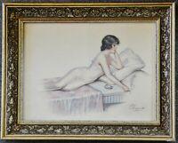 Aquarell junge Frau mit Zigarette, sig. P.Dupont,1920 1930, gerahmt, 44 x 35 cm