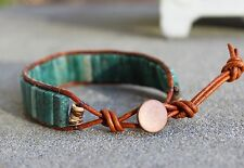 Men S African Jade Beaded Brown Leather Wrap Bracelet