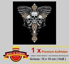 Auto Aufkleber Totenkopf Skull Schädel gothic cross Kreuz Bike Motorrad Sticker