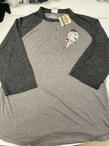 $52 New York Mets Vintage MR. MET NY Logo Baseball Shirt Henley By Red Jacket M