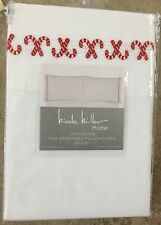 Nicole Miller Embroidered Candy Cane Christmas Cotton Standard Pillowcases