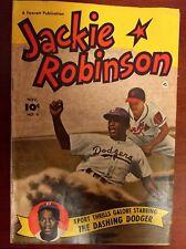 Rare 1950 Fawcett Baseball Comic Jackie Robinson Brooklyn Dodgers #4