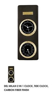 DEL MILAN 2 IN 1 CLOCK, TIDE CLOCK, CARBON FIBER FINISH New Discounted By 20%