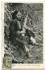 CARTE POSTALE CHINE TONKIN FEMME MAN REGION TUYEN QUANG 1906 FLUTE MUSIQUE