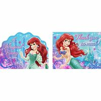 Disney Little Mermaid Combo Birthday Party Invitations & Thank You Notes 8 Each~