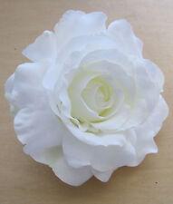"Large 5"" White Silk Rose Flower Hair Clip, Wedding, Prom, Dance, Bridal,Party"