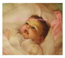 Precious Charlot Becker Baby Print Fabric Block 5x7 Inches Cotton Washable