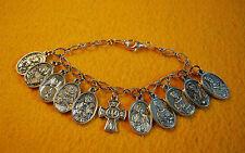 Bracelet of RELIC Saint Medals - Catholic Religious Saints 11 Medals