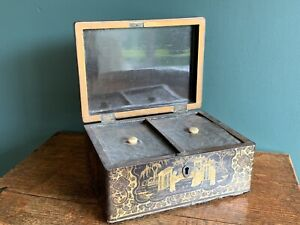 Antique Box Chinese Papiermache Tea Caddy Lacquered Gilt Lead Lining Vintage