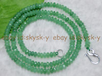 Lot 2x4mm Emerald Green Faceted Roundel Gems Beads Necklace Silver Clasp AA