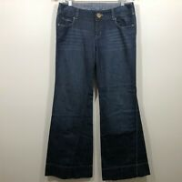 Level 99 Wide Leg Twisted Flare Bell Bottom Jeans Size 28 Womens Dark Wash