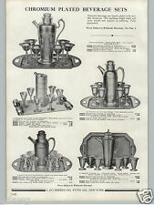 1936 PAPER AD Chrome Chromium Cocktail Shaker Beverage Sets Hammered Modern