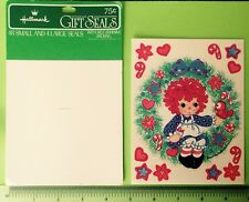 VTG 70s 1978 HALLMARK Raggedy Ann Sticker Sheet Christmas Holiday Wreath Rare