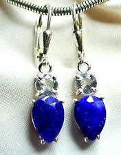 Saphir Bergkristall Ohrhänger 925 Silber, wertvoll funkelndes Design neu