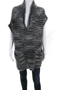 Missoni Womens Wool Short Sleeve V-Neck Poncho Sweater Multicolor Large