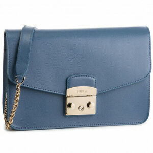 Woman Shoulder Bag Furla Metropolis S 1008891 piombo in blue leather with chain