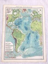 1909 Antique Map of The Atlantic Ocean Cables Depth Chart George Philip