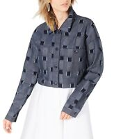 Line and Dot Women's Jacket Blue Size Small S Denim Patch Cropped  $92 #042