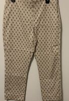 NWOT Charter Club Classic Fit SZ 8 Beige White Print Cropped Stretchy Pants