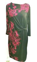 Debenhams Women Midi Dress Size 18 UK Dark Pink Black Floral Ruched Elastane